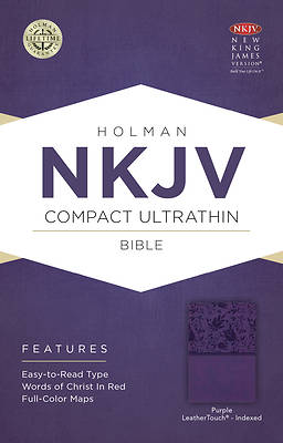 Picture of NKJV Compact Ultrathin Bible, Purple Leathertouch, Indexed