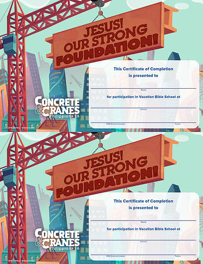 Picture of Vacation Bible School (VBS) 2020 Concrete and Cranes Certificates Of Completion Pkg of 50