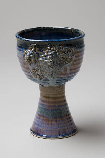 Large Porcelain Chalice with Grapes, Blue