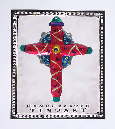 Picture of Tin Iona Cross with Flower