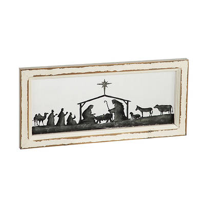 Picture of Nativity Scene Hand Painted Screen Wood Frame Wall Décor