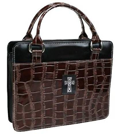 Purse with Silver Cross Croc Embossed Large Brown Bible Cover