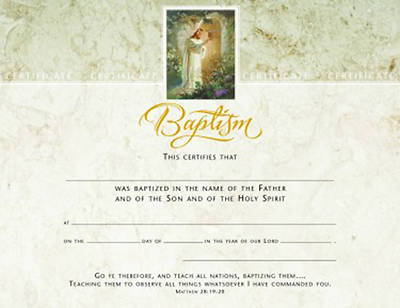 Picture of Baptism Certificate Premium, Gold Foil-Stamped Package of 6