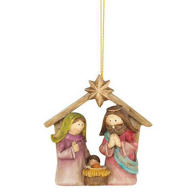 Holy Family in Creche With Star Ornament