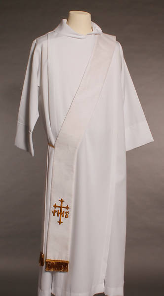 White IHS Cross Deacon Stole