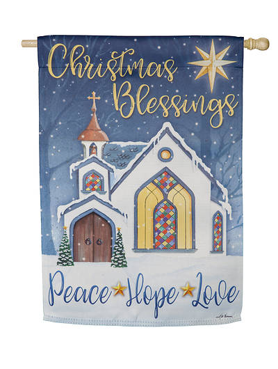Picture of Christmas Blessings House Suede Flag