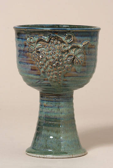 Large Porcelain Chalice with Grapes, Green
