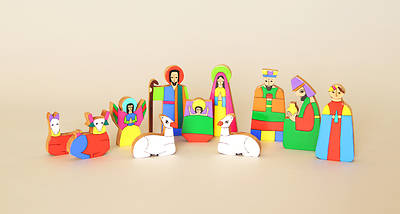 Picture of Hand Painted Wood Nativity 11pc - El Salvador