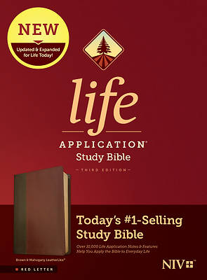 Picture of NIV Life Application Study Bible, Third Edition (Red Letter, Leatherlike, Brown/Mahogany)