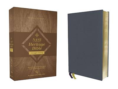 Picture of Nasb, Heritage Bible, Passaggio Setting, Genuine Leather, Buffalo, Blue, 1995 Text, Art Gilded Edges, Comfort Print