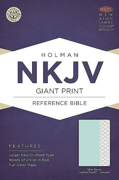 NKJV Giant Print Reference Bible, Mint Green Leathertouch, Indexed