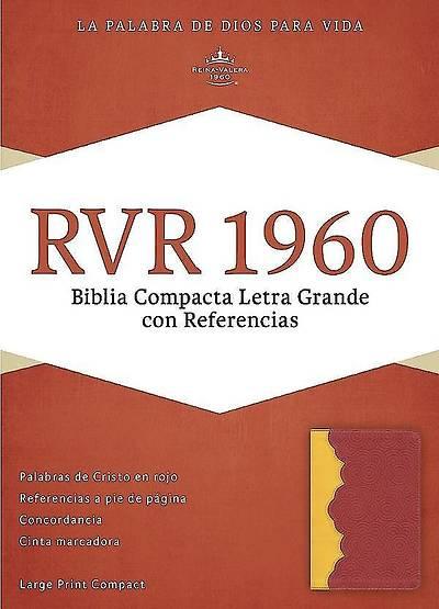 Picture of Rvr 1960 Biblia Compacta Letra Grande Con Referencias, Ambar/Rojo Ladrillo Simil Piel