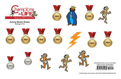 Vacation Bible School (VBS) 2020 Champions in Life Activity Stickers Sheets (Pkg of 12)