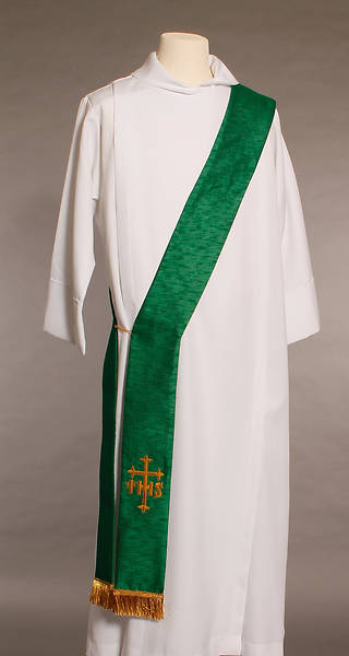 Green IHS Cross Deacon Stole