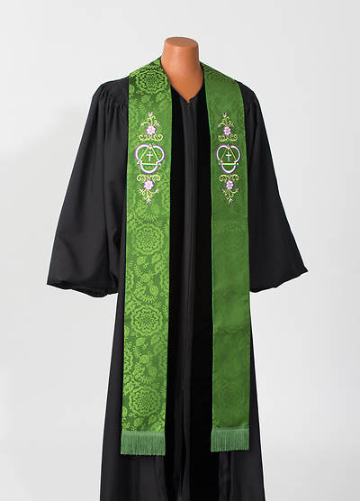 Abbott Hall 8000 Series Green Silk Damask Stole