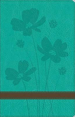 GW Personal Size Giant Print Bible Turquoise/Brown, Flower Design Duravella