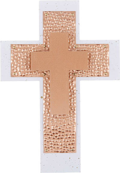 Rose Gold Wood/Metal Wall Cross