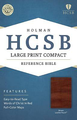 HCSB Large Print Compact Bible, Brown Leathertouch
