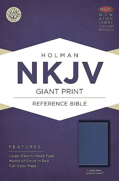 NKJV Giant Print Reference Bible, Cobalt Blue Leathertouch
