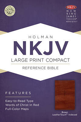 Picture of NKJV Large Print Compact Reference Bible, Brown Cross Leathertouch, Indexed