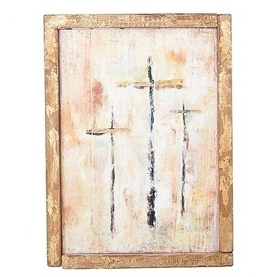"""Picture of Three Cross Framed Panel Wall Plaque 15"""""""