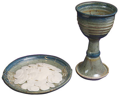 Picture of Porcelain Chalice and Paten Set with Wheat and Grape Pattern, Green