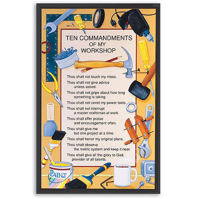 Ten Commandments of My Workshop Plaque