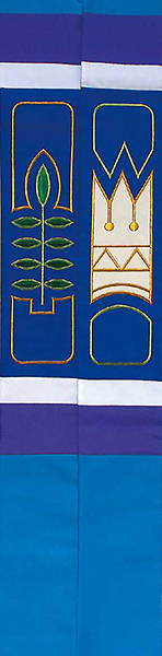 "Revelation Blue Palm Leaf Crown 110"" Stole"