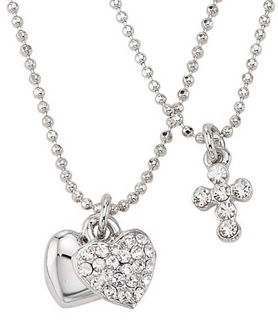 Silver Plated Crystal Cross Heart Duo Pendant 15