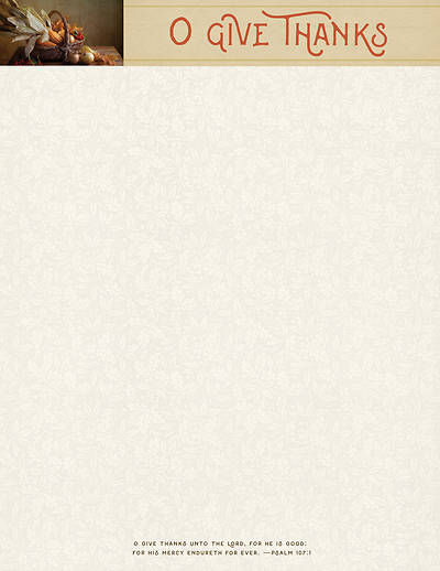 O Give Thanks Thanksgiving Letterhead