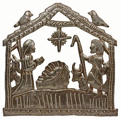 In the Stable Metal Wall Art Nativity