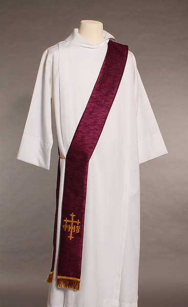 Purple IHS Cross Deacon Stole