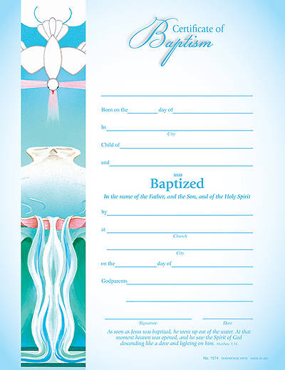 Certificate of Baptism Pack of 25
