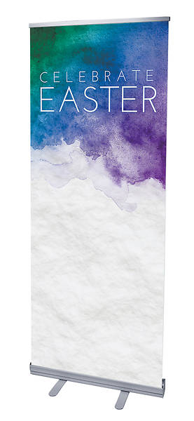 Celebrate Easter Watercolor Roll-Up Banner with Stand