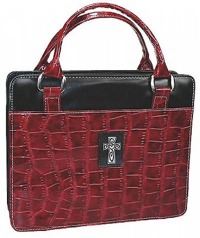 Purse Style with Silver Cross Croc Embossed Burgundy Bible Cover Medium