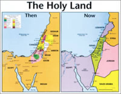 Picture of Holy Land: Then and Now Bible Map® - Wall Map - Laminated