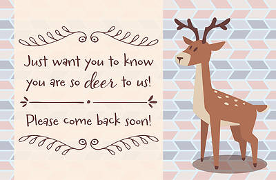 So Deer to Us Kids Missed You Postcards
