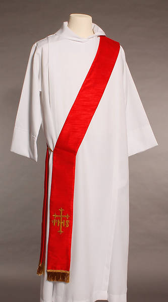 Red IHS Cross Deacon Stole