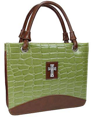 Purse with Silver Cross Croc Embossed Large Green Bible Cover