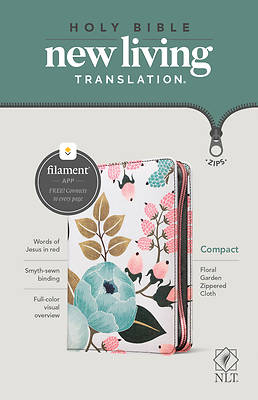 Picture of NLT Compact Zipper Bible, Filament Enabled Edition (Red Letter, Cloth, Floral Garden)