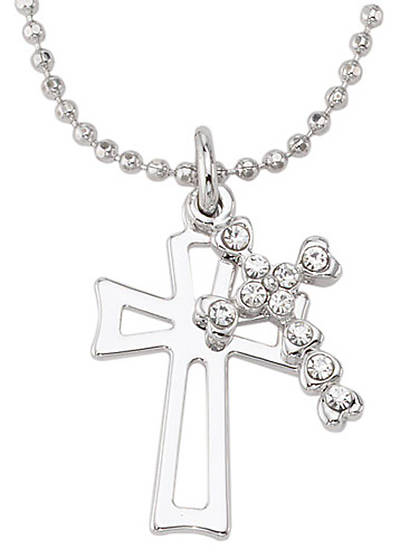 Silver Plated Open Cross Pendant w/Crystal Stone Cross 18