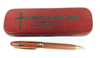 Boxed Wooden Pen - Great is our Lord, and mighty in power; His understanding is infinite