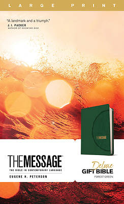 Picture of The Message Deluxe Gift Bible, Large Print (Leather-Look, Green)