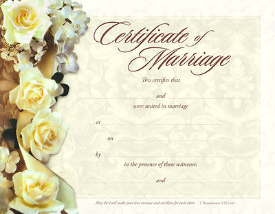 Roses Foil-Embossed Marriage Certificate (Package of 6)