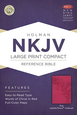 Picture of NKJV Large Print Compact Reference Bible, Pink Leathertouch, Indexed
