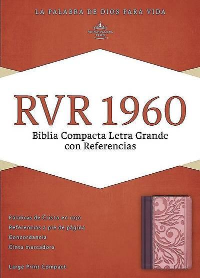 Picture of Rvr 1960 Biblia Compacta Letra Grande Con Referencias, Borravino/Rosado Simil Piel
