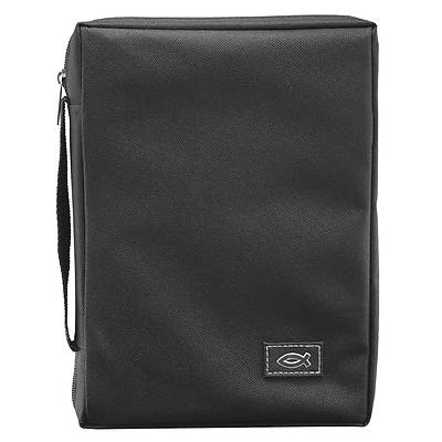 Picture of Black Polyester Bible Cover W/Fish Emblem