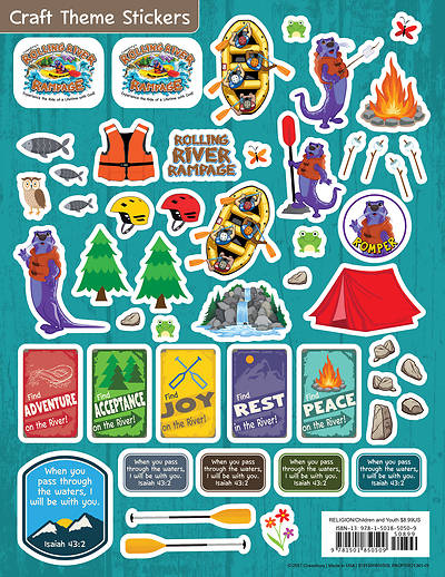 Vacation Bible School (VBS) 2018 Rolling River Rampage Craft Theme Stickers (Pkg of 12)