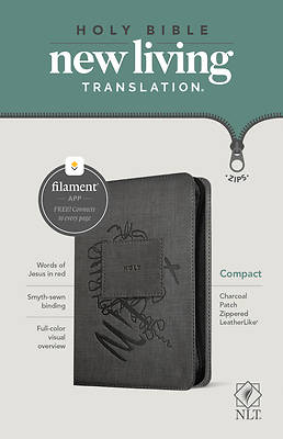 Picture of NLT Compact Zipper Bible, Filament Enabled Edition (Red Letter, Leatherlike, Charcoal Patch)