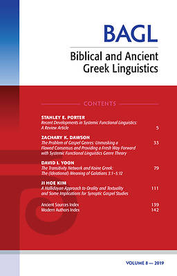 Picture of Biblical and Ancient Greek Linguistics, Volume 8